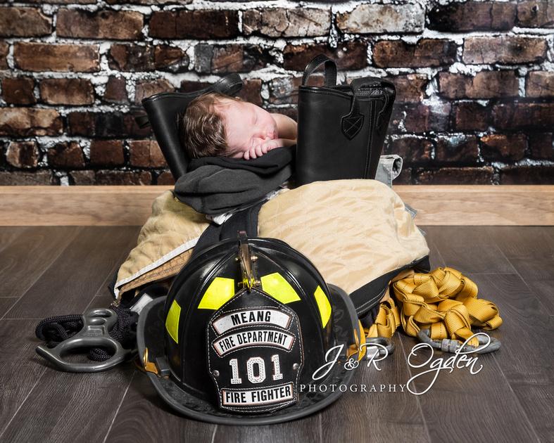 Newborn Firefighter - Bangor Maine Newborn Photographer