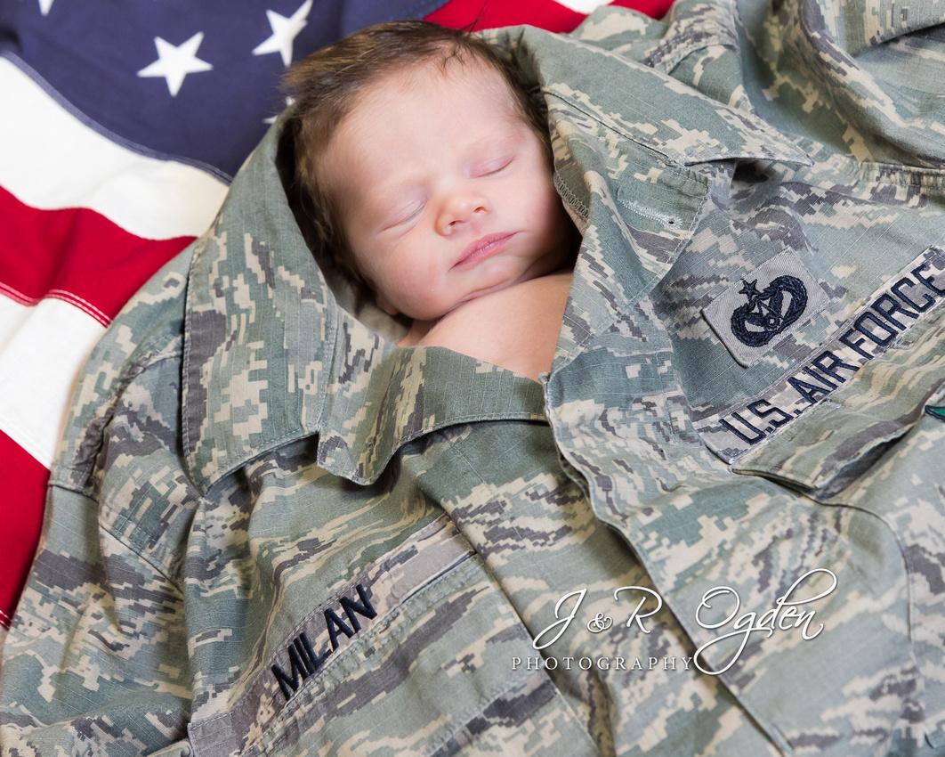 Newborn Air Force BDU - DCU Flag - Bangor Maine Newborn Photographer