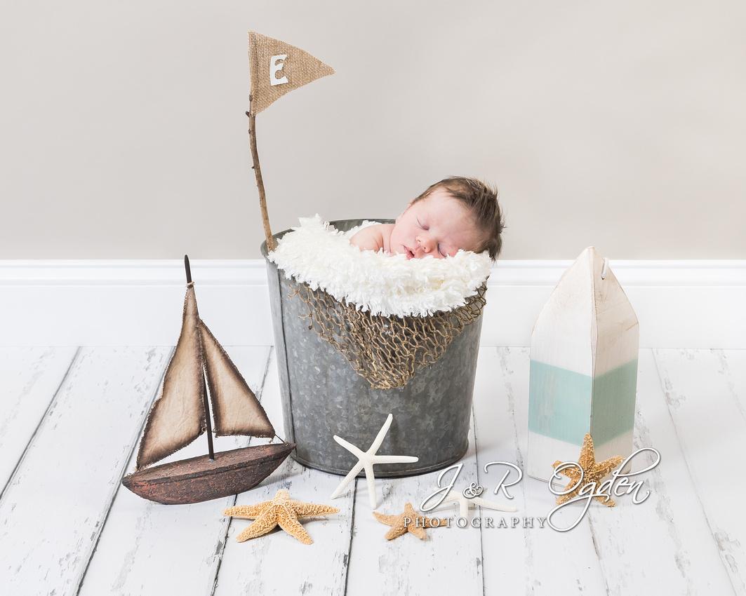 Newborn Nautical Scene - Bangor Maine Newborn Photographer