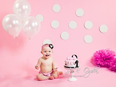 First Birthday Cake Smash Photos - Minnie Mouse - Bangor Maine Cake Smash Photographers