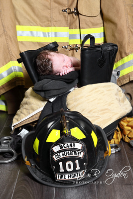 Newborn Firefighter - Bangor Maine Newborn Photographer