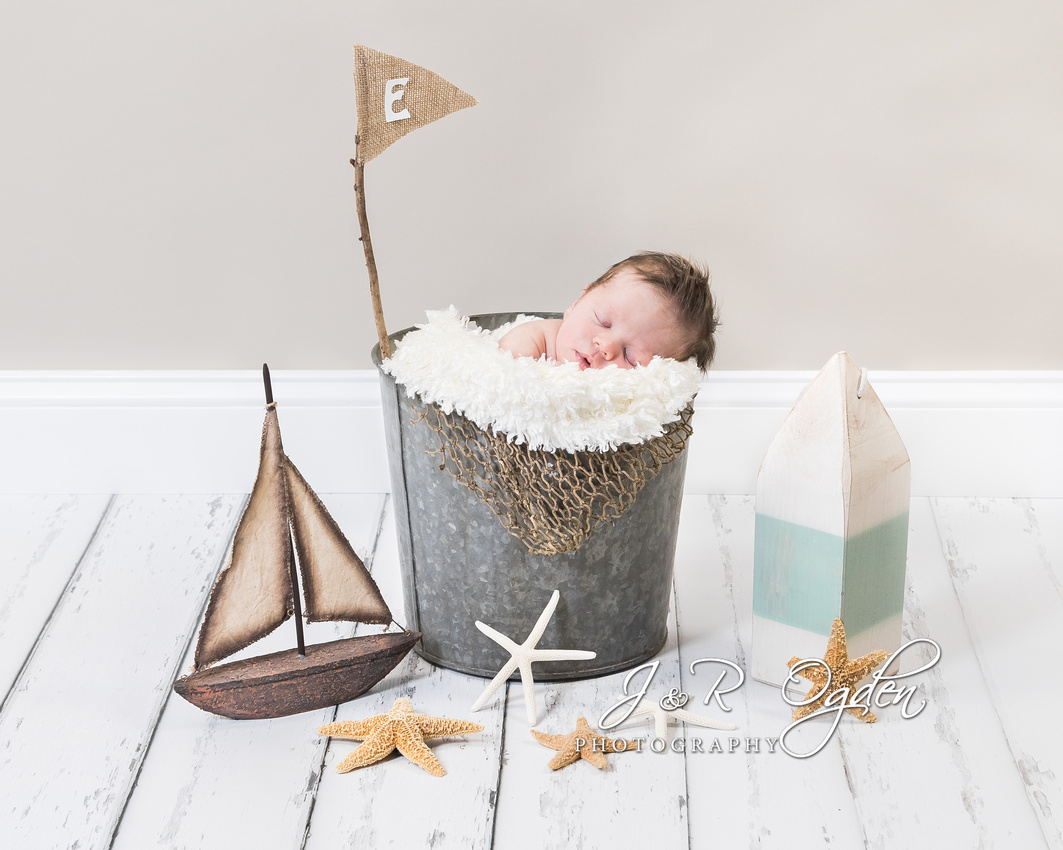 Newborn Nautical Scene - Bangor Maine Newborn Photographer
