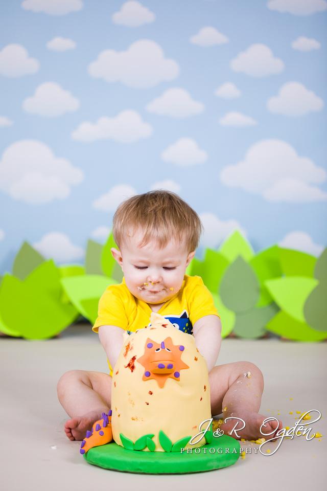 Cake Smash for One Year Old - Bangor - Dinosaur Egg Cake