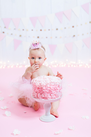 Bangor Maine - Cake Smash Session - Photography - Pink Rosette Cake