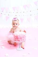 Bangor Maine - Cake Smash Session - Photography - Pink Rosette Cake