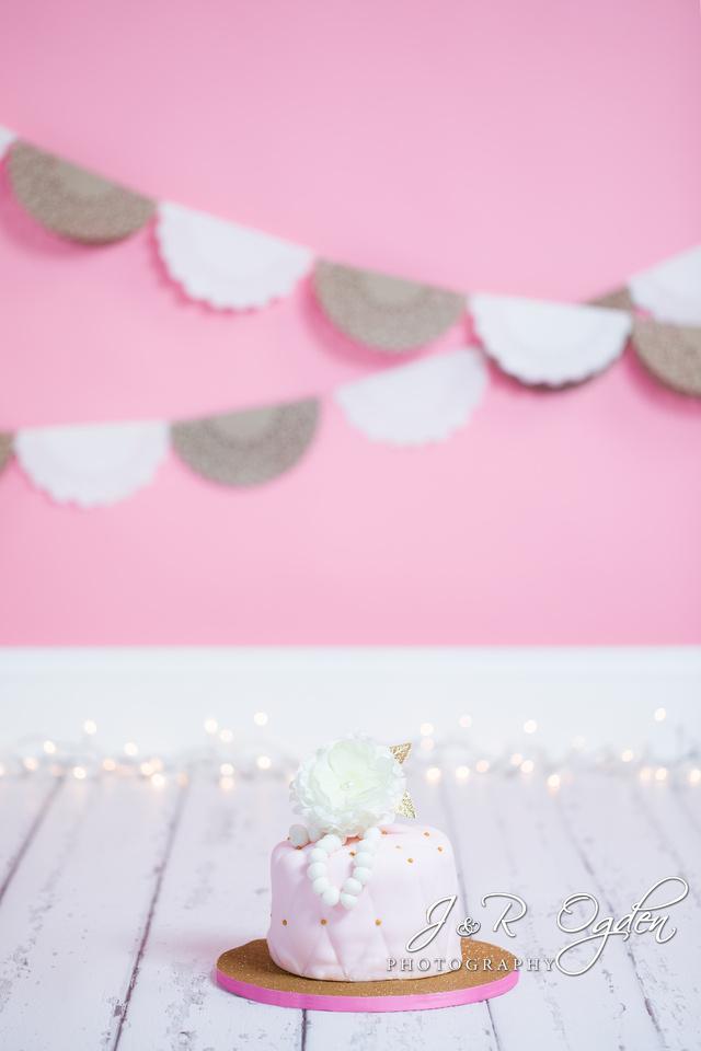 Bangor Region Cake Smash Photographer - Pink and Gold Cake